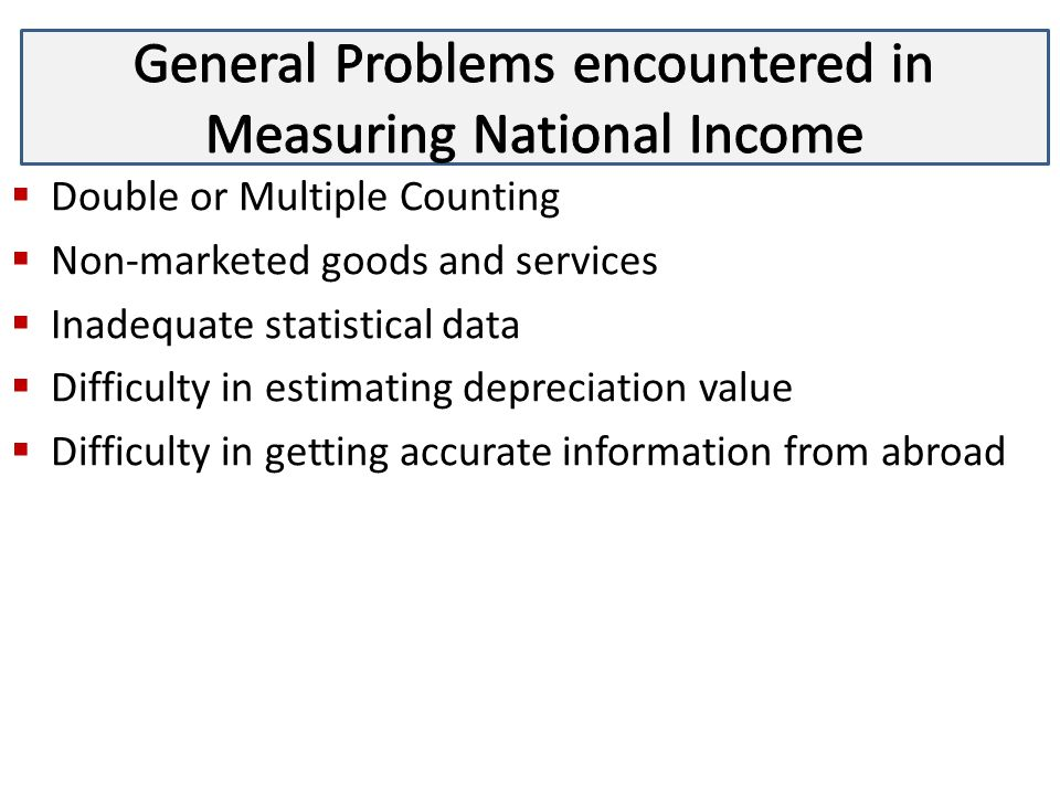 difficulties in calculating national income