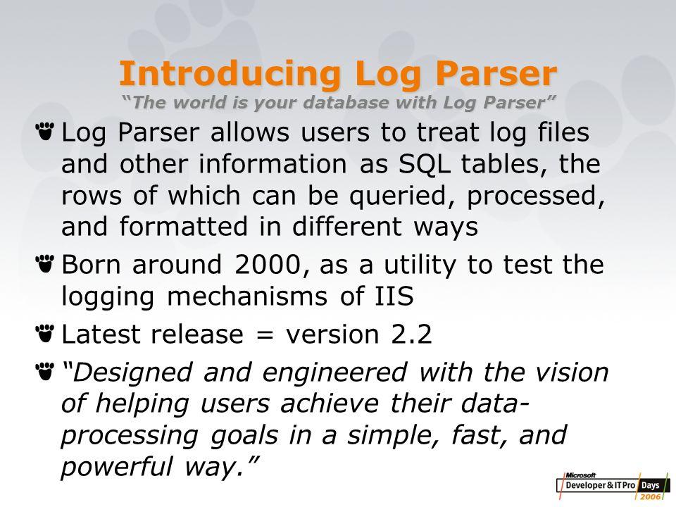 Microsoft Log Parser Toolkit Pdf