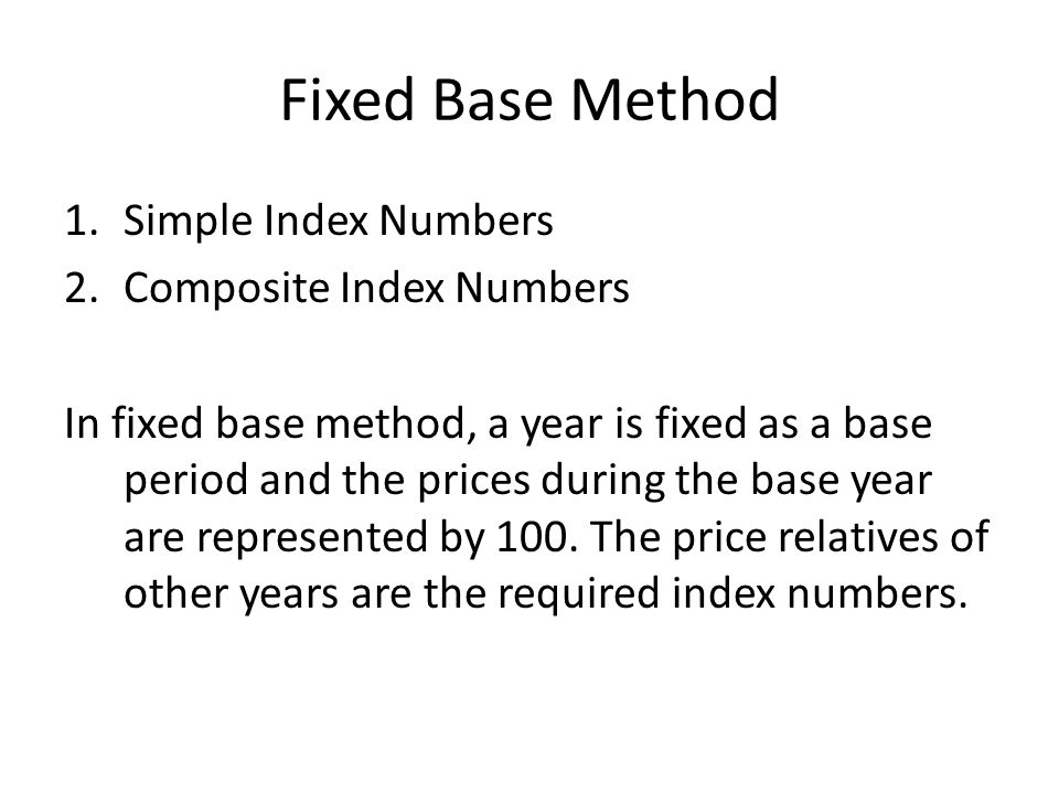 Index Numbers  Fro measuring changes in a variable or a
