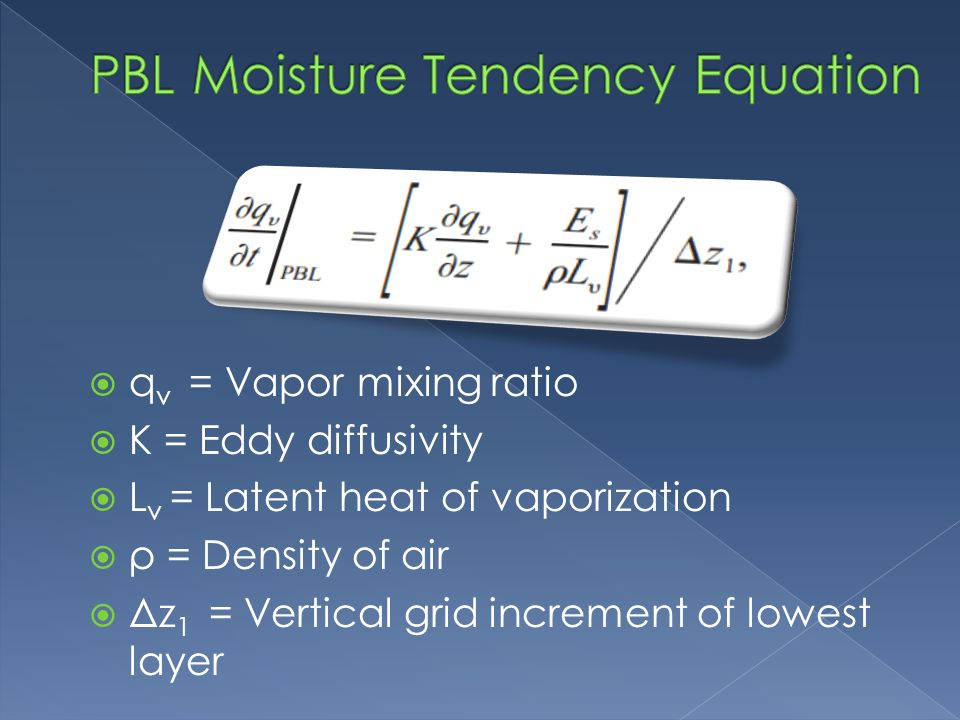  q v = Vapor mixing ratio  K = Eddy diffusivity  L v = Latent heat of vaporization  ρ = Density of air  Δz 1 = Vertical grid increment of lowest layer