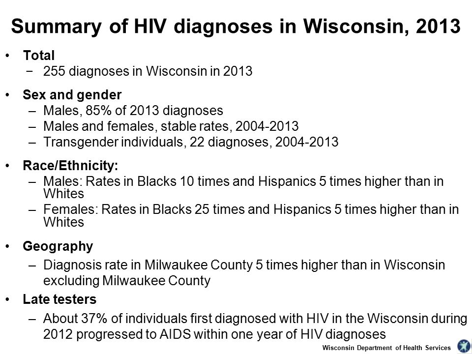 Wisconsin Department of Health Services Summary of HIV diagnoses in Wisconsin, 2013 Total −255 diagnoses in Wisconsin in 2013 Sex and gender –Males, 85% of 2013 diagnoses –Males and females, stable rates, –Transgender individuals, 22 diagnoses, Race/Ethnicity: –Males: Rates in Blacks 10 times and Hispanics 5 times higher than in Whites –Females: Rates in Blacks 25 times and Hispanics 5 times higher than in Whites Geography –Diagnosis rate in Milwaukee County 5 times higher than in Wisconsin excluding Milwaukee County Late testers –About 37% of individuals first diagnosed with HIV in the Wisconsin during 2012 progressed to AIDS within one year of HIV diagnoses