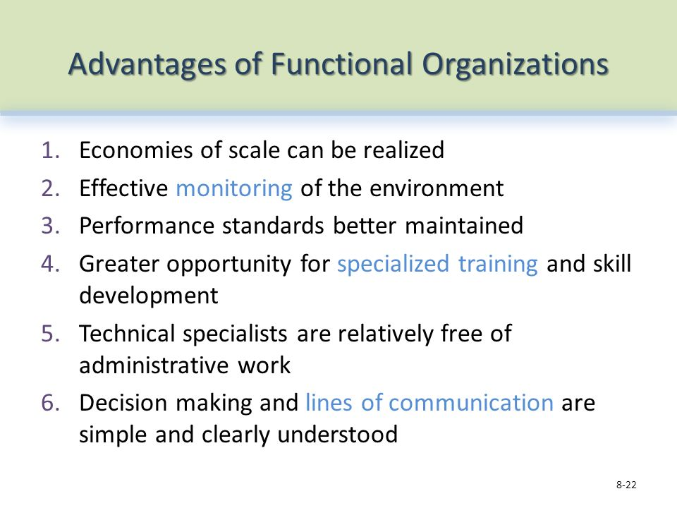 Advantages of Functional Organizations 1.Economies of scale can be realized 2.Effective monitoring of the environment 3.Performance standards better maintained 4.Greater opportunity for specialized training and skill development 5.Technical specialists are relatively free of administrative work 6.Decision making and lines of communication are simple and clearly understood 8-22