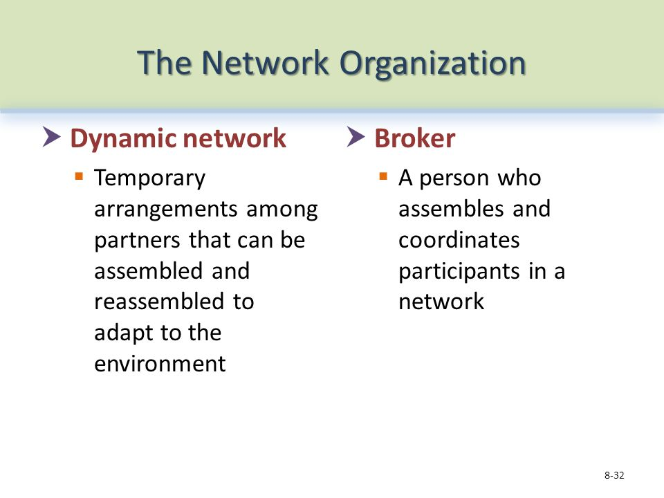 The Network Organization  Dynamic network  Temporary arrangements among partners that can be assembled and reassembled to adapt to the environment  Broker  A person who assembles and coordinates participants in a network 8-32