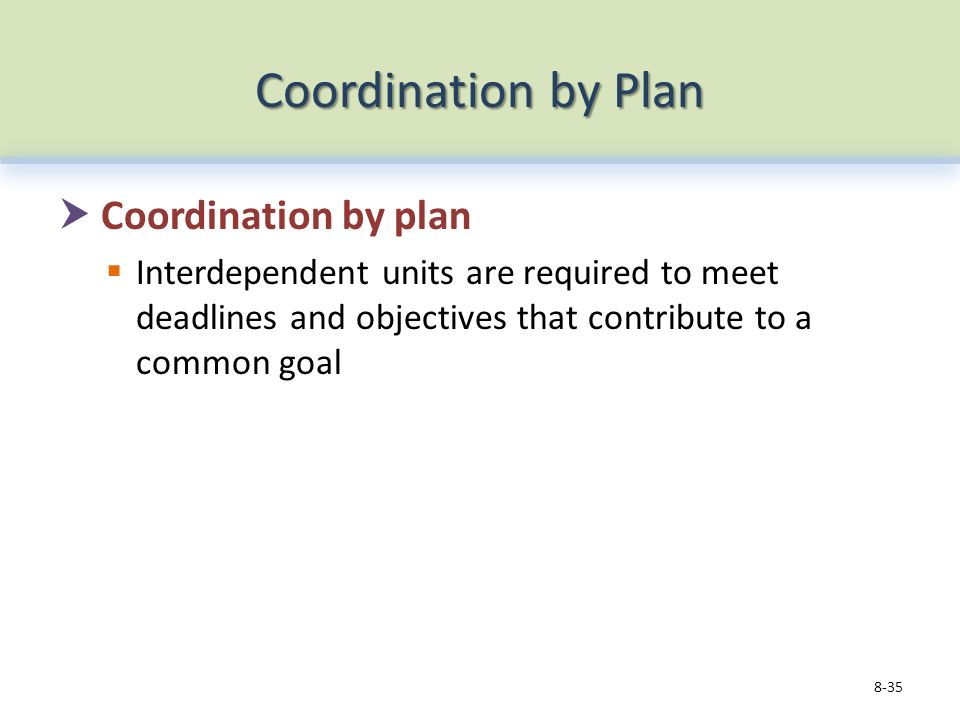 Coordination by Plan  Coordination by plan  Interdependent units are required to meet deadlines and objectives that contribute to a common goal 8-35