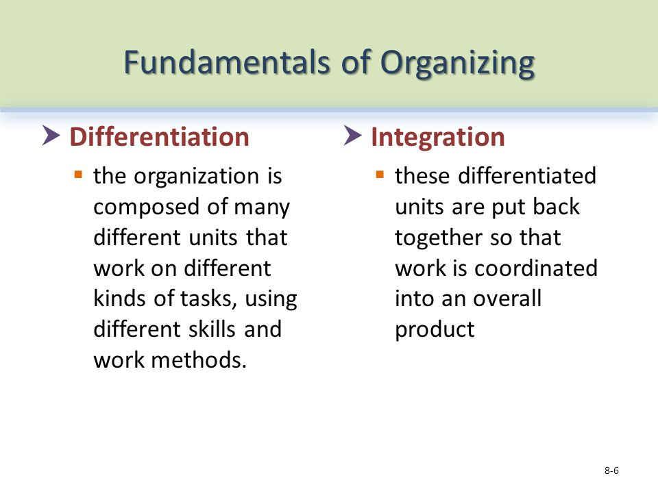 Fundamentals of Organizing  Differentiation  the organization is composed of many different units that work on different kinds of tasks, using different skills and work methods.