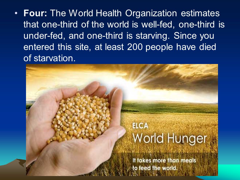 Four: The World Health Organization estimates that one-third of the world is well-fed, one-third is under-fed, and one-third is starving.