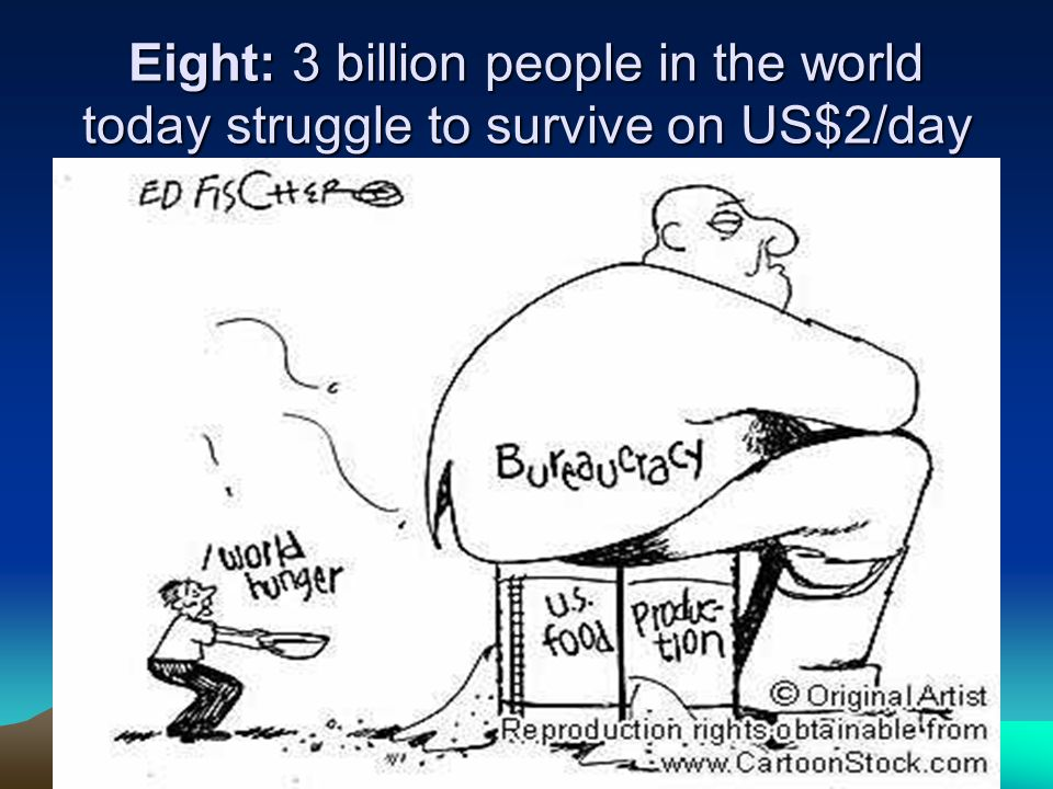 Eight: 3 billion people in the world today struggle to survive on US$2/day