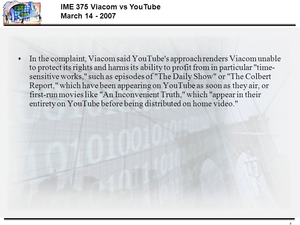 Viacom Vs Google What About Fair Use >> 1 Ime 375 Viacom Vs Youtube March Viacom Sues Google Youtube Is