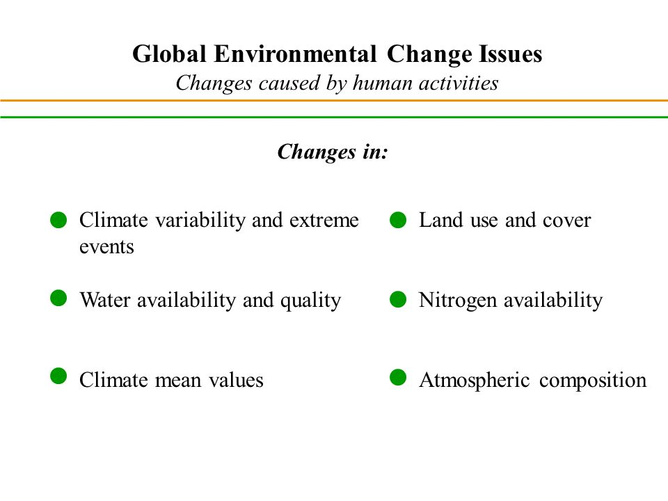 Global Environmental Change Issues Changes caused by human activities Climate variability and extreme events Water availability and quality Climate mean values Changes in: Land use and cover Nitrogen availability Atmospheric composition
