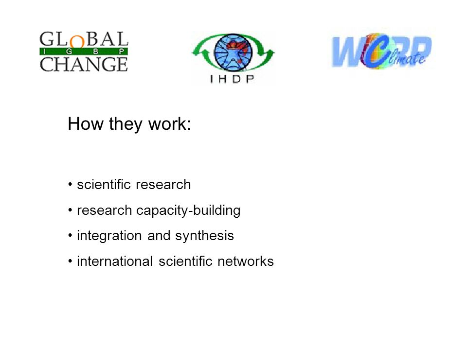 How they work: scientific research research capacity-building integration and synthesis international scientific networks