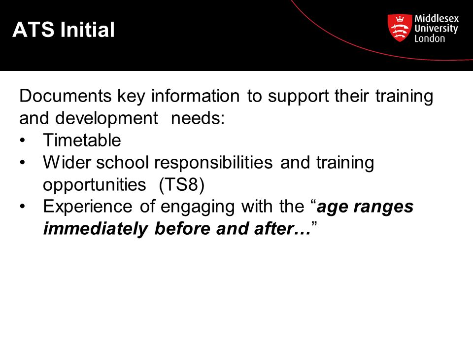 ATS Initial Documents key information to support their training and development needs: Timetable Wider school responsibilities and training opportunities (TS8) Experience of engaging with the age ranges immediately before and after…