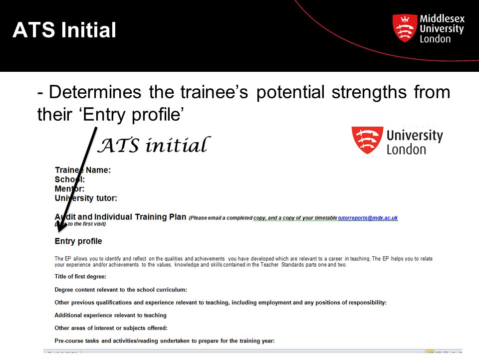 ATS Initial - Determines the trainee's potential strengths from their 'Entry profile'
