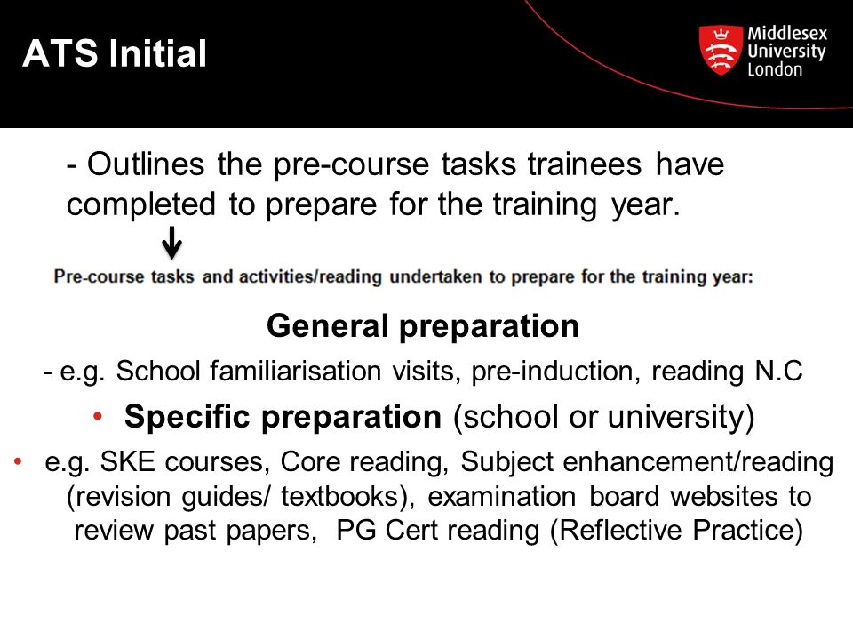 ATS Initial - Outlines the pre-course tasks trainees have completed to prepare for the training year.