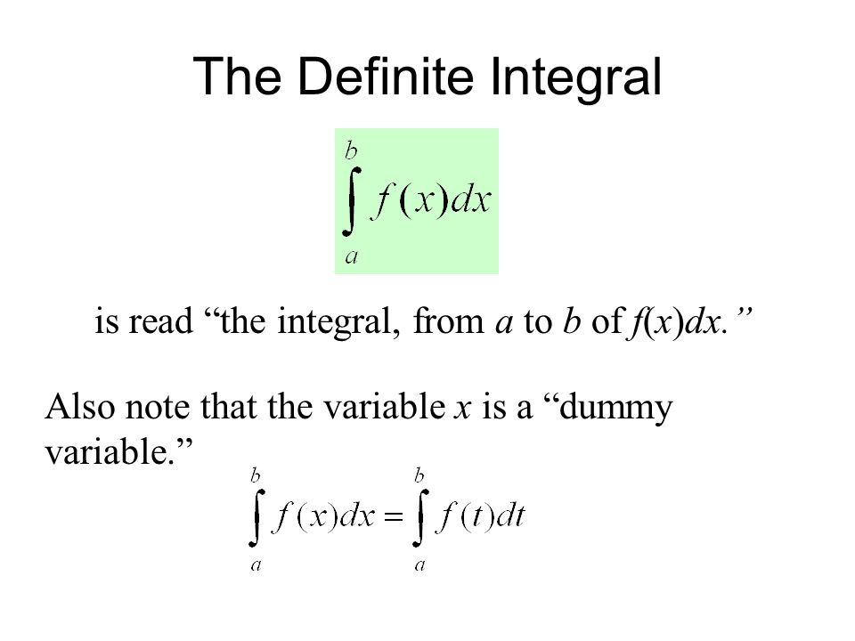 The Definite Integral is read the integral, from a to b of f(x)dx. Also note that the variable x is a dummy variable.
