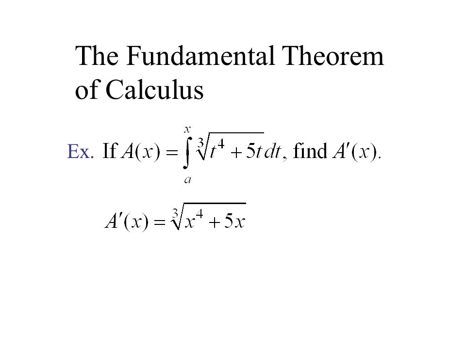 The Fundamental Theorem of Calculus Ex.