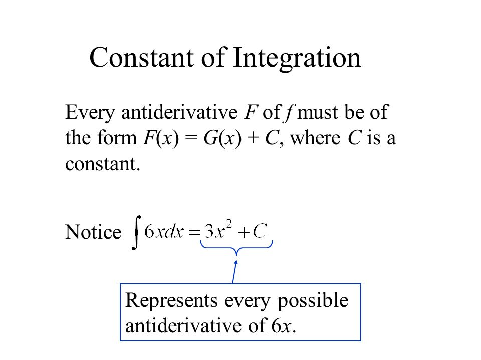 Every antiderivative F of f must be of the form F(x) = G(x) + C, where C is a constant.