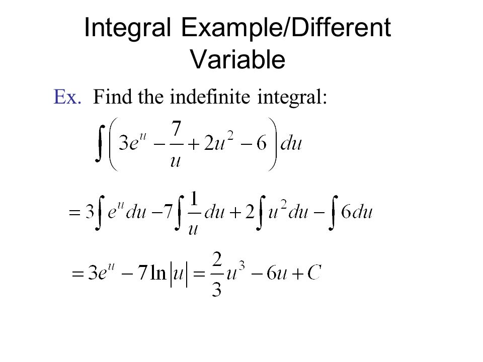 Integral Example/Different Variable Ex. Find the indefinite integral: