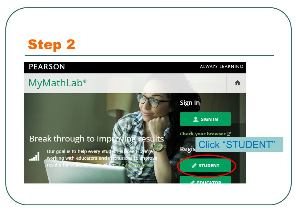 Step 2 Click STUDENT
