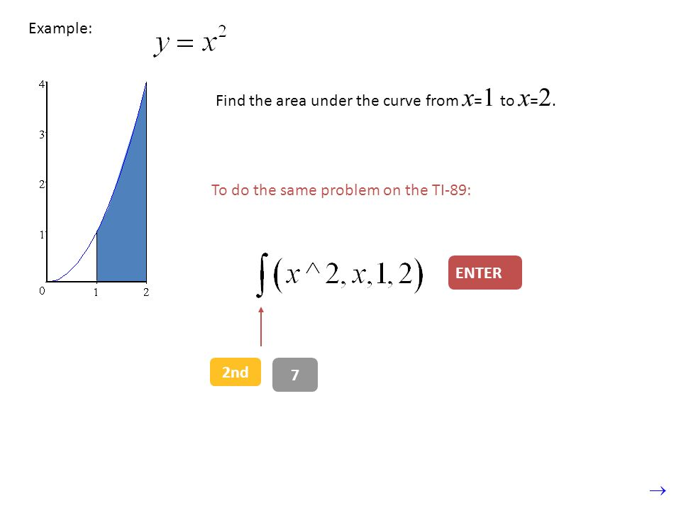 Example: Find the area under the curve from x = 1 to x = 2.