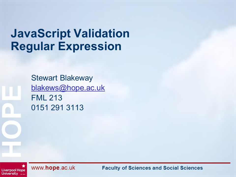 Faculty of Sciences and Social Sciences HOPE JavaScript Validation