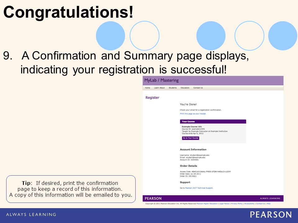 9. A Confirmation and Summary page displays, indicating your registration is successful.