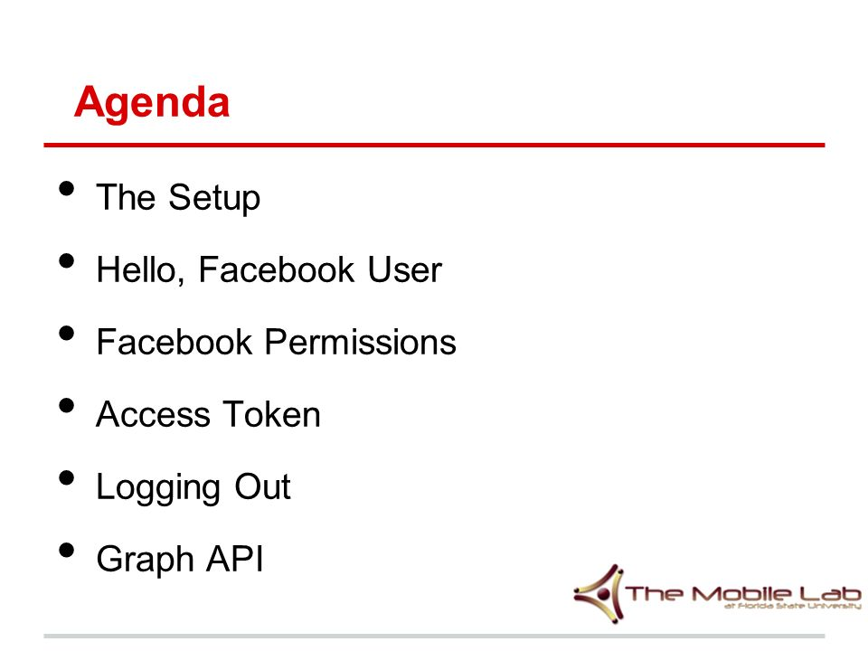 Mobile Programming Lecture 16 The Facebook API  Agenda The