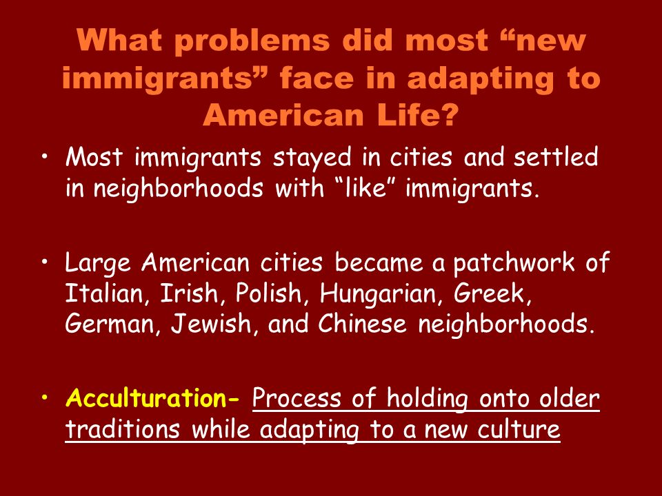 What problems did most new immigrants face in adapting to American Life.
