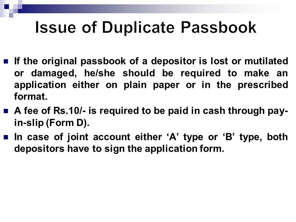 lost passbook