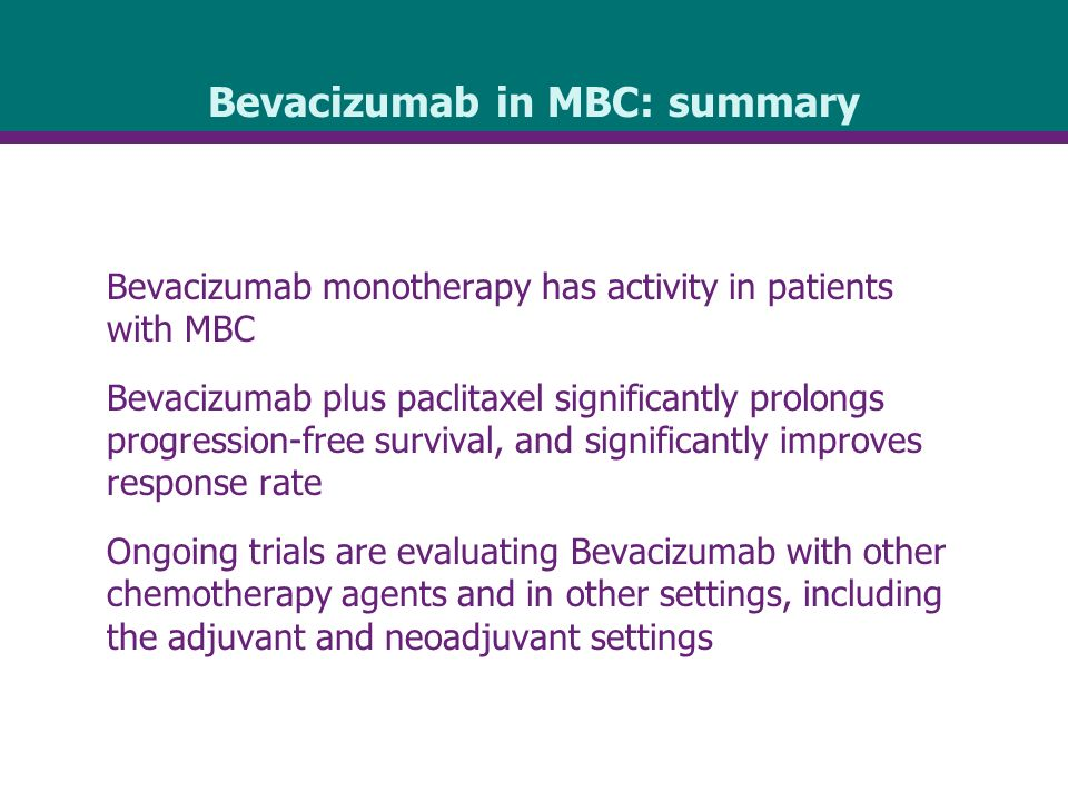 Bevacizumab in MBC: summary Bevacizumab monotherapy has activity in patients with MBC Bevacizumab plus paclitaxel significantly prolongs progression-free survival, and significantly improves response rate Ongoing trials are evaluating Bevacizumab with other chemotherapy agents and in other settings, including the adjuvant and neoadjuvant settings