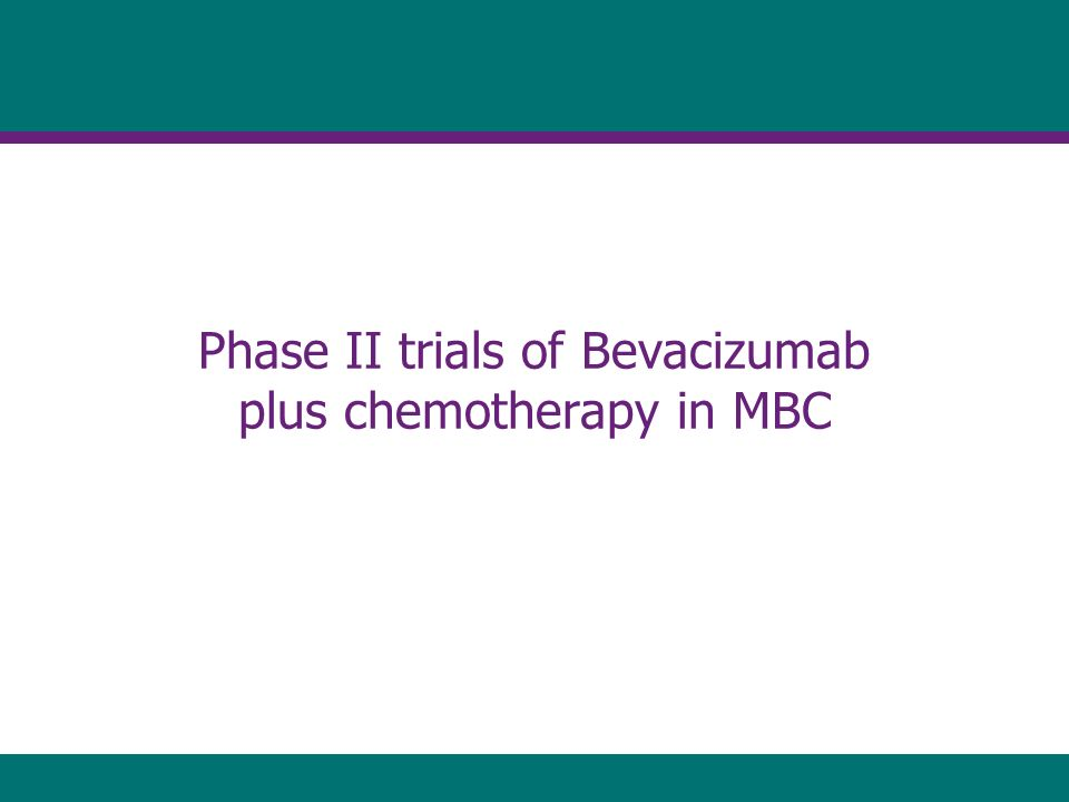 Phase II trials of Bevacizumab plus chemotherapy in MBC