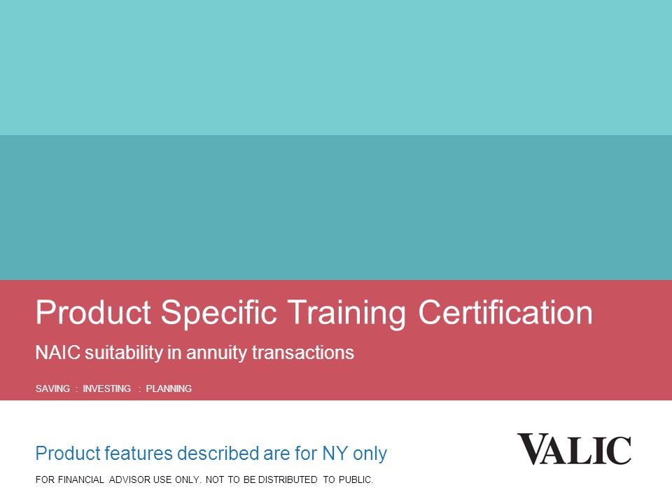 Product Specific Training Certification NAIC suitability in annuity ...
