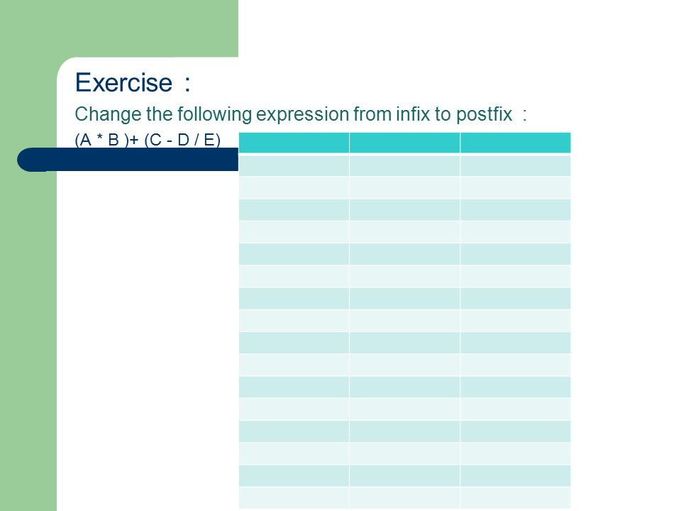 Exercise : Change the following expression from infix to postfix : (A * B )+ (C - D / E)