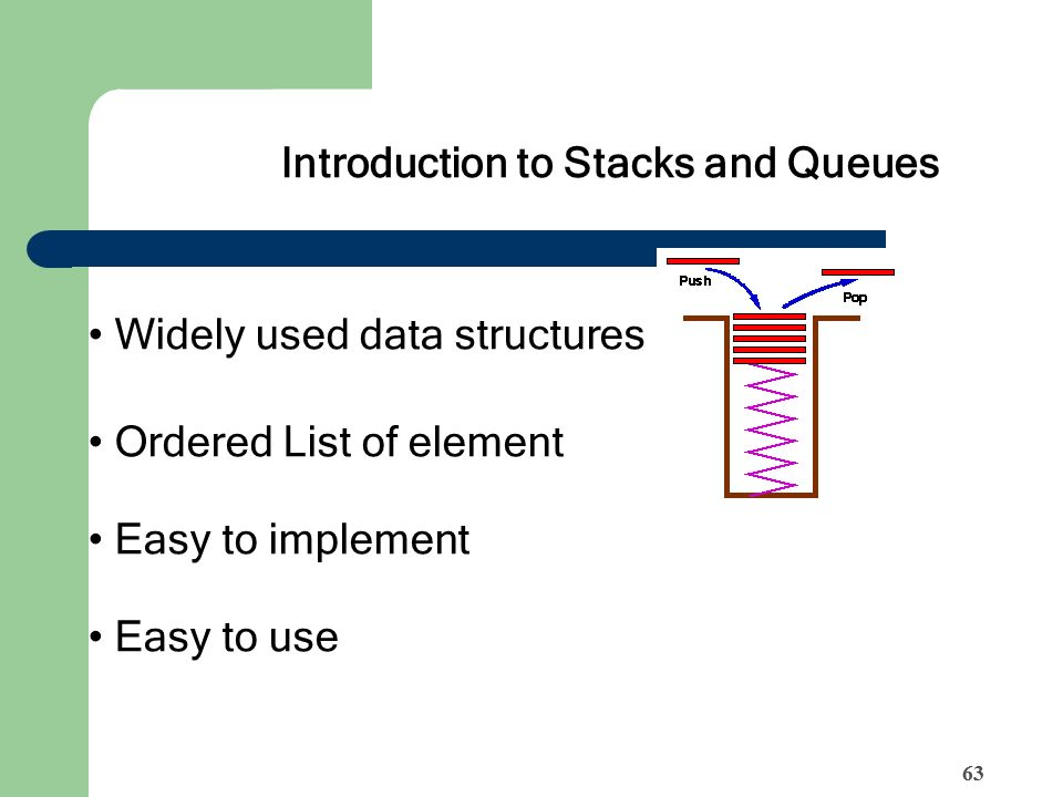 Introduction to Stacks and Queues Widely used data structures Ordered List of element Easy to implement Easy to use 63