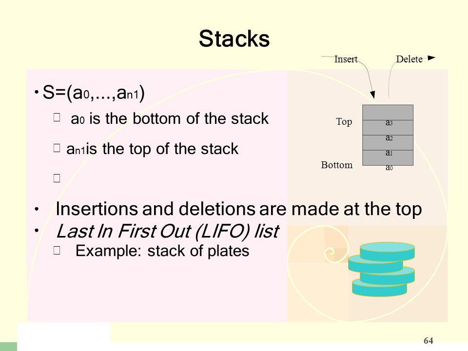    – Stacks S=(a 0,...,a n­1 ) InsertDelete –––––– a 0 is the bottom of the stack a n­1 is the top of the stack Top Bottom a3a2a1a0a3a2a1a0 Insertions and deletions are made at the top Last In First Out (LIFO) list Example: stack of plates 64