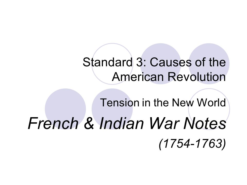 Standard 3: Causes of the American Revolution Tension in the New World French & Indian War Notes ( )
