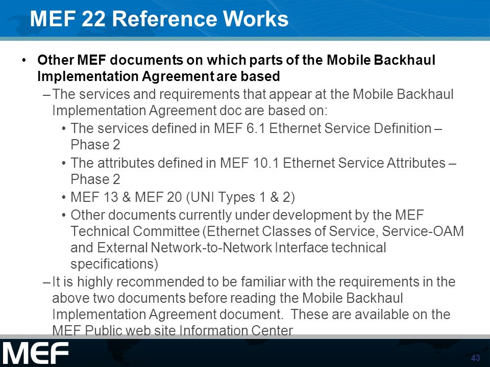 1 Introducing The Specifications Of The Mef Mef 22 Mobile Backhaul