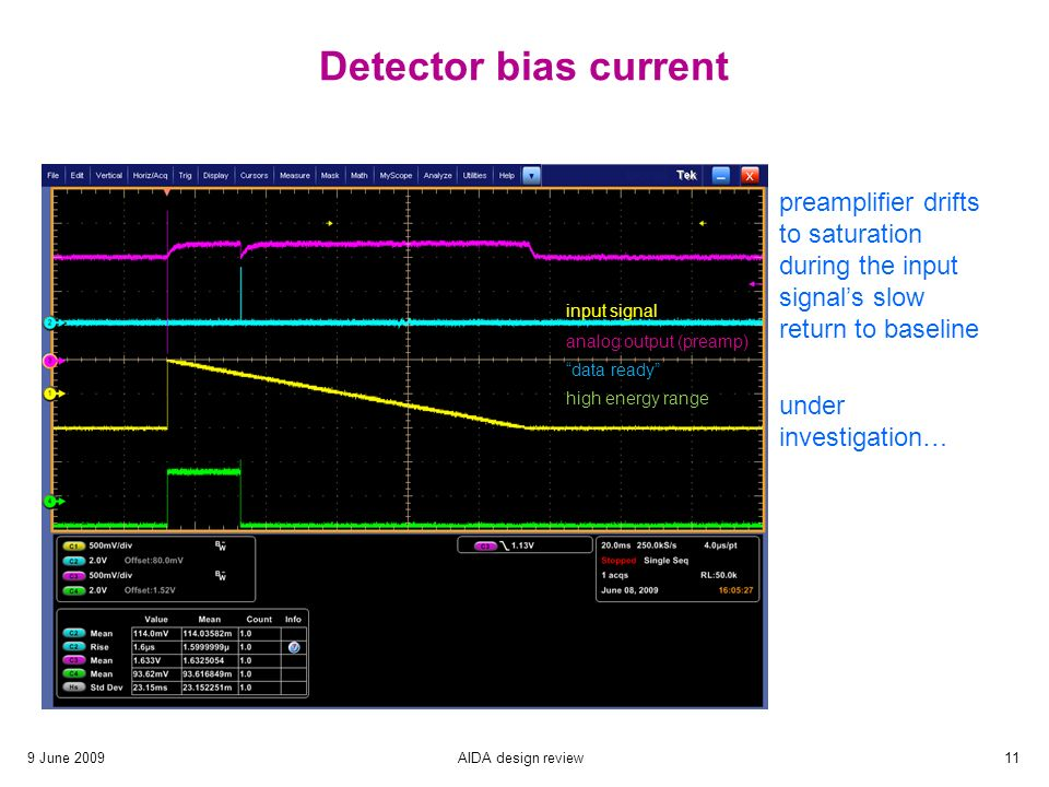 9 June 2009AIDA design review11 Detector bias current input signal analog output (preamp) data ready high energy range preamplifier drifts to saturation during the input signal's slow return to baseline under investigation…