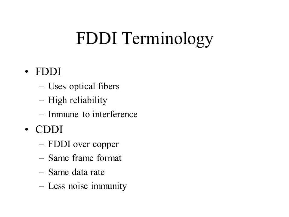 difference between fddi and cddi
