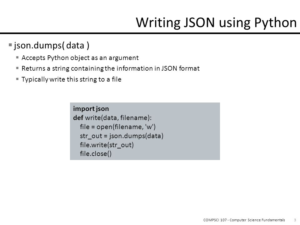 Lecture 14 - JSON   Text-based notation for data interchange