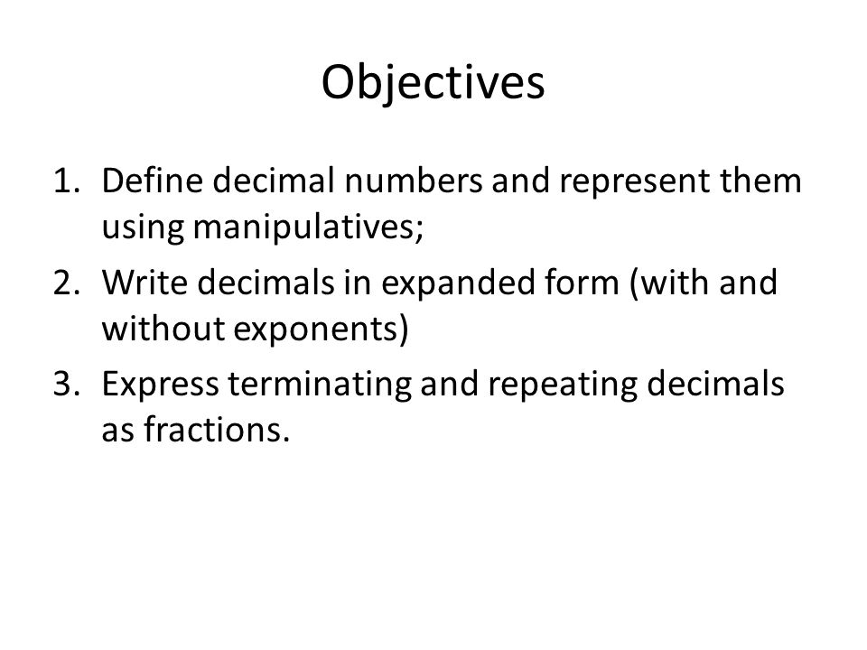 Mth 232 Section 71 Decimals And Real Numbers Objectives 1fine