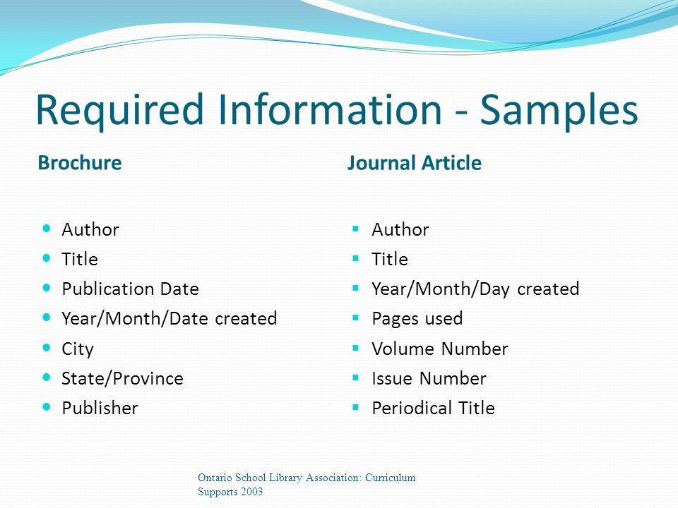 Required Information - Samples Brochure Journal Article Author Title Publication Date Year/Month/Date created City State/Province Publisher  Author  Title  Year/Month/Day created  Pages used  Volume Number  Issue Number  Periodical Title Ontario School Library Association: Curriculum Supports 2003