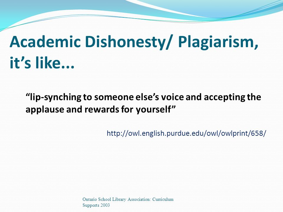 Academic Dishonesty/ Plagiarism, it's like...