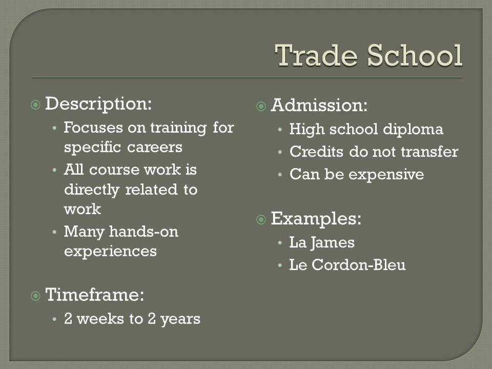 on the job trade school apprenticeship military community college 4