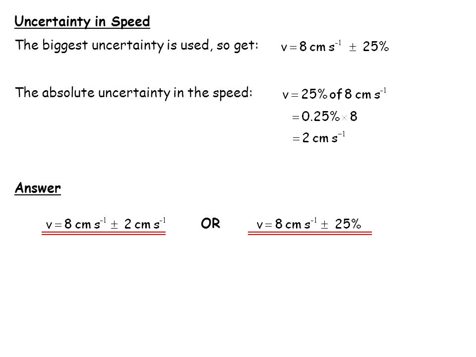 Calculation of Uncertainty