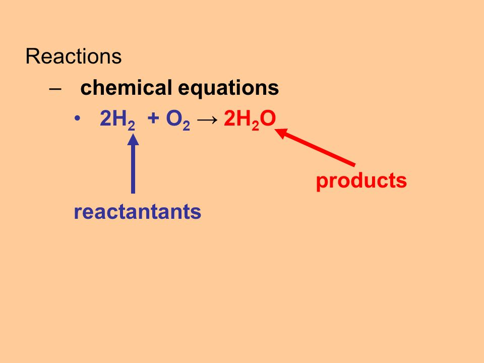 Reactions –chemical equations 2H 2 + O 2 → 2H 2 O products reactantants