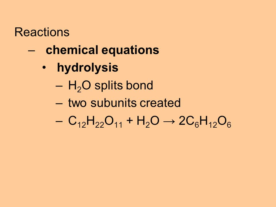 Reactions –chemical equations hydrolysis –H 2 O splits bond –two subunits created –C 12 H 22 O 11 + H 2 O → 2C 6 H 12 O 6