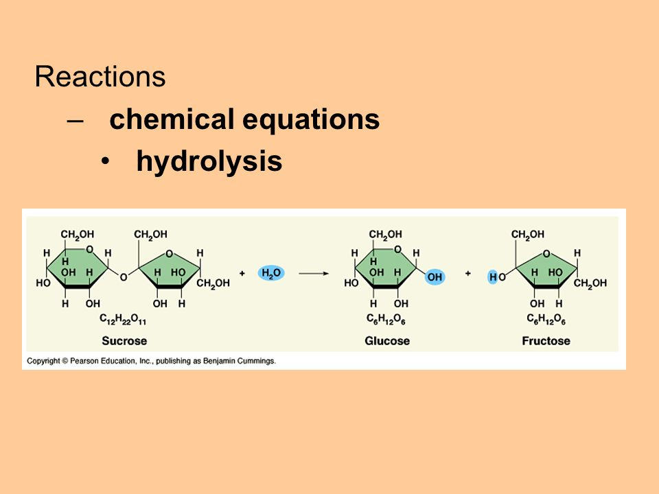 Reactions –chemical equations hydrolysis