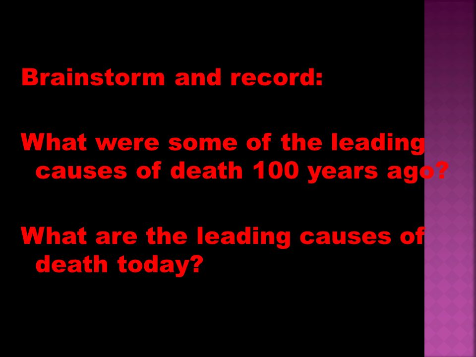 Brainstorm and record: What were some of the leading causes of death 100 years ago.