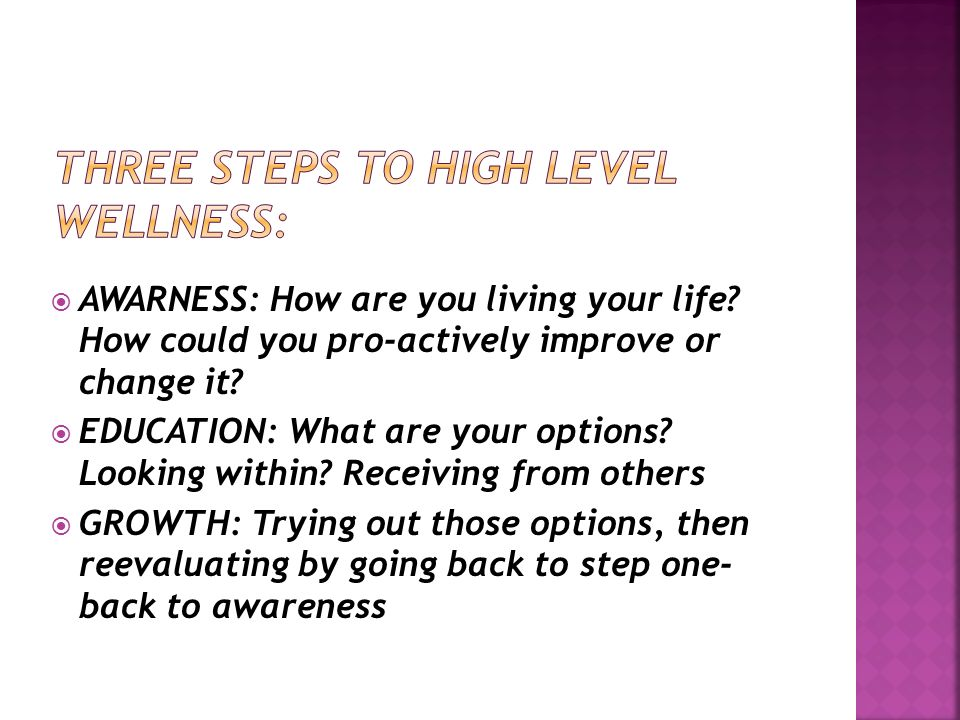  AWARNESS: How are you living your life. How could you pro-actively improve or change it.