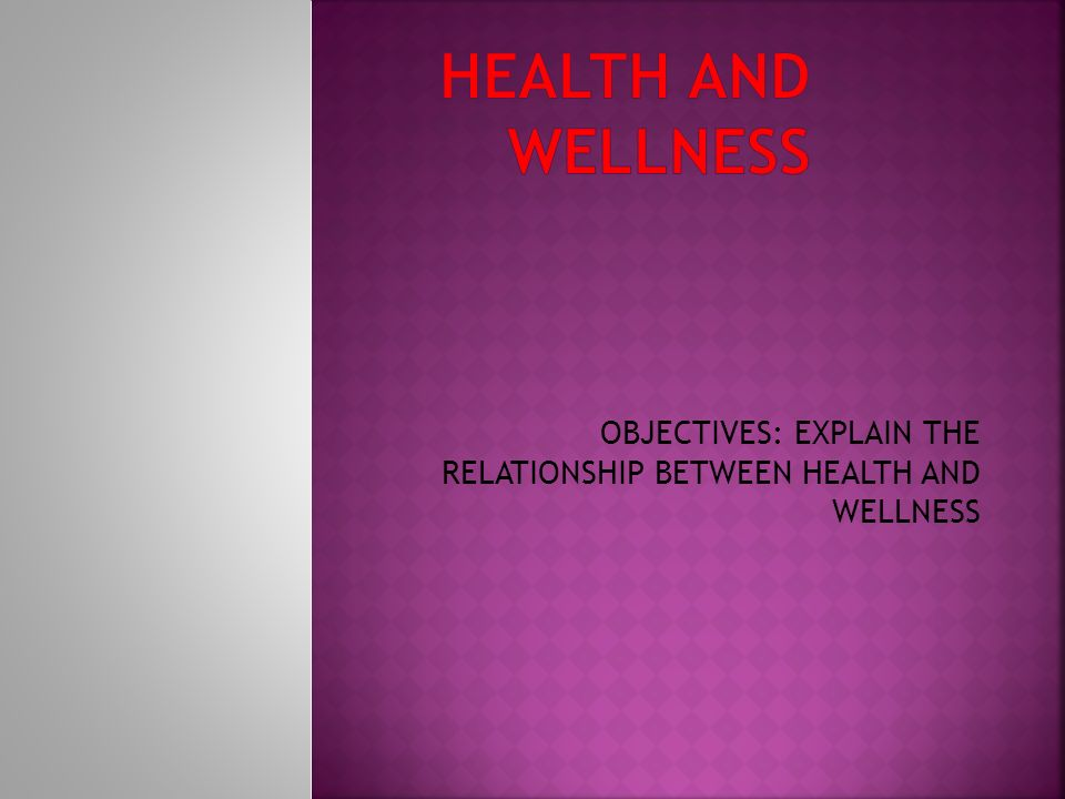 OBJECTIVES: EXPLAIN THE RELATIONSHIP BETWEEN HEALTH AND WELLNESS